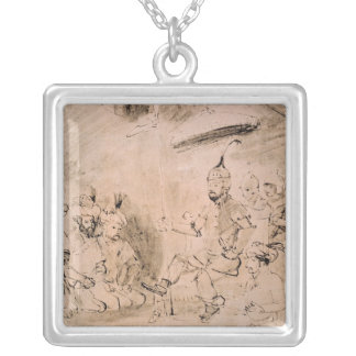 The Emperor Timur  on his Throne Square Pendant Necklace