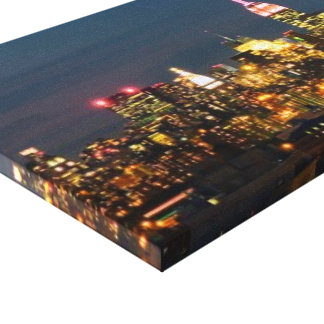 The Empire State Building at Night Panorama Canvas Print