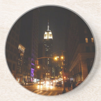The Empire State Building at Night Sandstone Coaster