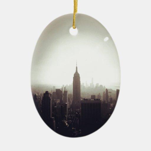 The Empire State Building, NYC Adorno Navideño Ovalado De Cerámica