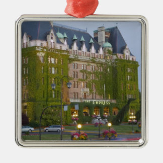 The Empress Hotel at the inner harbour in Square Metal Christmas Ornament