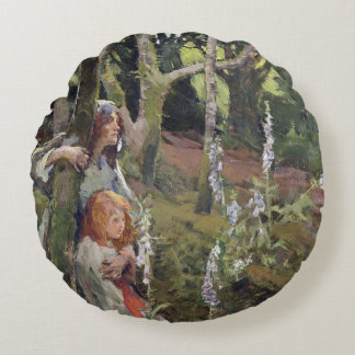The Enchanted Wood (oil on canvas) Round Pillow