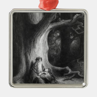 The Enchanter Merlin and the Fairy Vivien Metal Ornament
