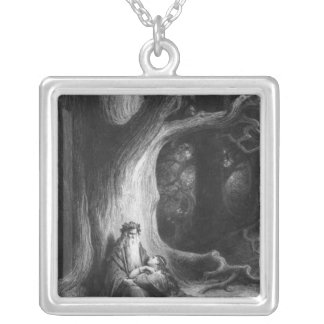 The Enchanter Merlin and the Fairy Vivien Square Pendant Necklace