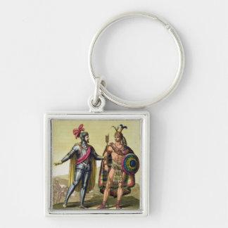 The Encounter between Hernando Cortes (1485-1547) Keychain