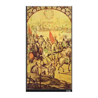 The encounter between Hernando Cortes Canvas Print