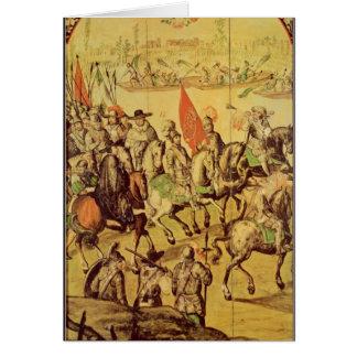 The encounter between Hernando Cortes Card