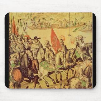 The encounter between Hernando Cortes Mouse Pad