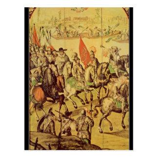 The encounter between Hernando Cortes Postcard