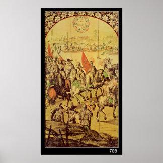 The encounter between Hernando Cortes Posters