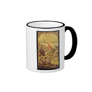 The encounter between Hernando Cortes Ringer Coffee Mug