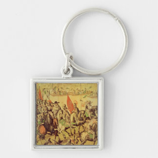 The encounter between Hernando Cortes Silver-Colored Square Keychain