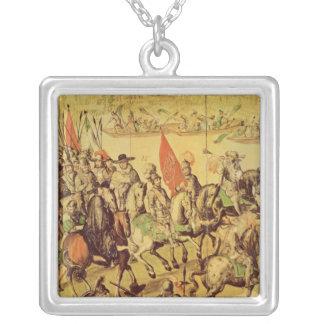 The encounter between Hernando Cortes Silver Plated Necklace