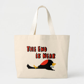 The End Is Near Falling Bird Tote Bags