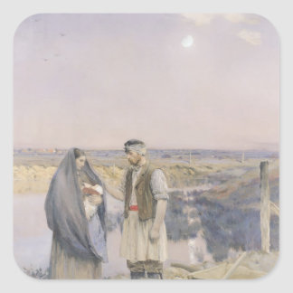 The End of the Day, 1888 Square Sticker