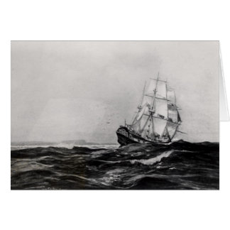 The Endeavour at Sea, 1900, engraved by Lowy Card