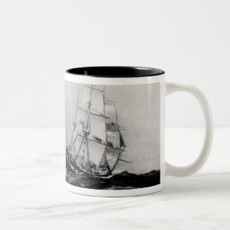 The Endeavour at Sea, 1900, engraved by Lowy Two-Tone Coffee Mug