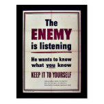 The Enemy Is Listening Post Card