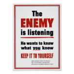 The Enemy Is Listening - WWII Poster