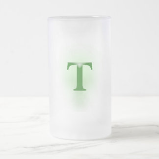 "The English American Letter ""T"" Frosted Glass Beer Mug"