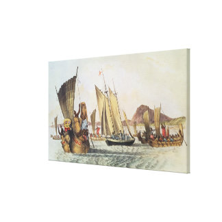 The English being welcomed ashore in South Seas Canvas Print