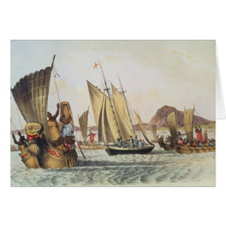 The English being welcomed ashore in South Seas Card