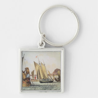 The English being welcomed ashore in South Seas Keychain