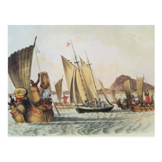 The English being welcomed ashore in South Seas Postcard