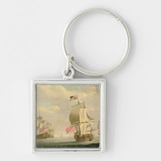 The English Fleet Under Sail Silver-Colored Square Keychain