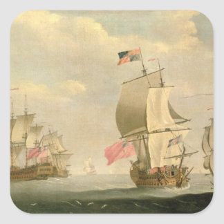 The English Fleet Under Sail Square Sticker