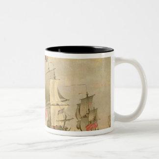 The English Fleet Under Sail Two-Tone Coffee Mug