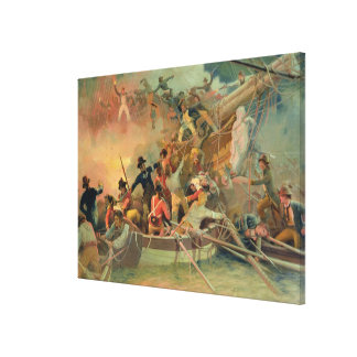 The English navy conquering a French ship Canvas Print