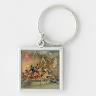 The English navy conquering a French ship Silver-Colored Square Keychain