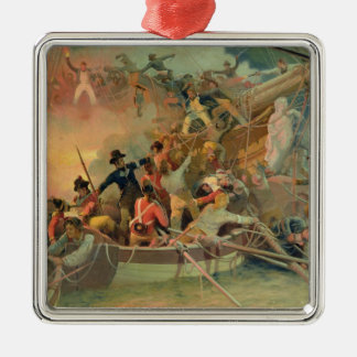 The English navy conquering a French ship Metal Ornament