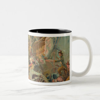 The English navy conquering a French ship Two-Tone Coffee Mug