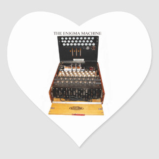 The enigma machine, vintage military messaging heart sticker