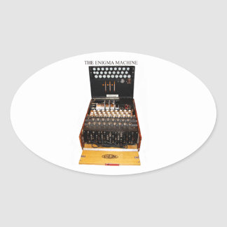 The enigma machine, vintage military messaging oval sticker
