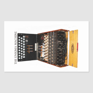 The enigma machine, vintage military messaging rectangular sticker