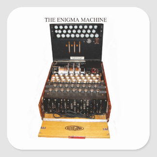 The enigma machine, vintage military messaging square sticker