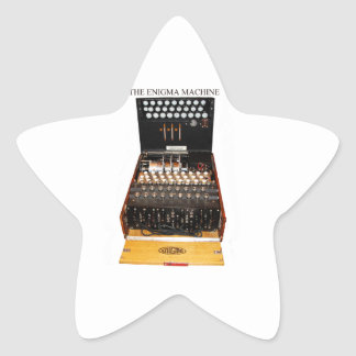 The enigma machine, vintage military messaging star sticker