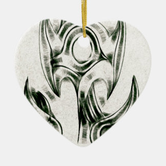 The Entangled Vines Double-Sided Heart Ceramic Christmas Ornament