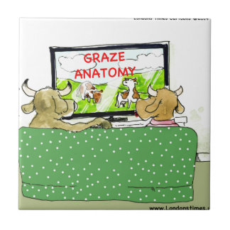 The Entertaining Cows Funny Ceramic Tile