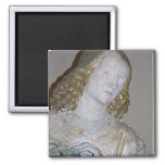 The Entombment, detail of a saint holding the crow 2 Inch Square Magnet