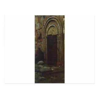 The entrance door to the church under the Kazbek Postcard