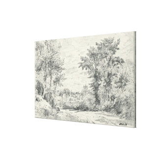 The Entrance into Gillingham, Dorset (pencil) Canvas Print
