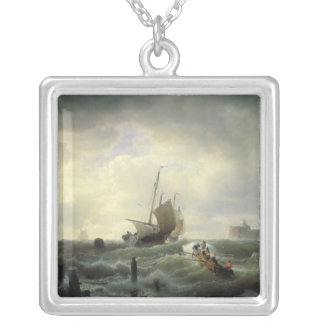 The Entrance to the Harbour at Hellevoetsluys Square Pendant Necklace