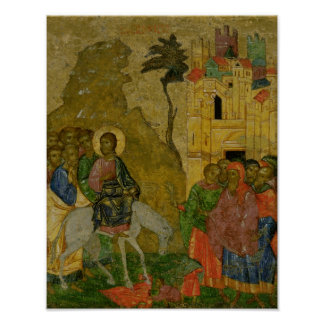 The Entry into Jerusalem, Russian icon Poster