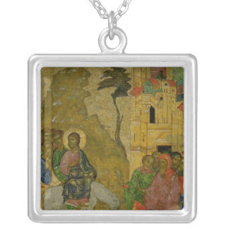 The Entry into Jerusalem, Russian icon Silver Plated Necklace