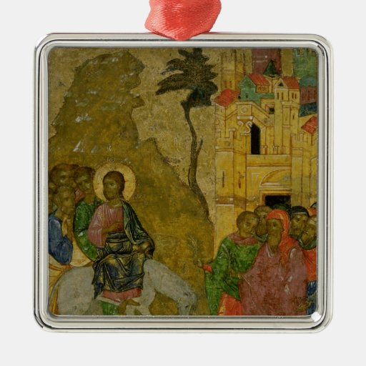 The Entry into Jerusalem, Russian icon Square Metal Christmas Ornament