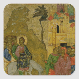 The Entry into Jerusalem, Russian icon Square Sticker